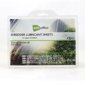 Set of 12 oil lubricant sheets for paper shredders